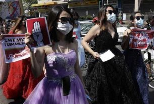 """""""princess protest"""" in Myanmar's main city Yangon."""